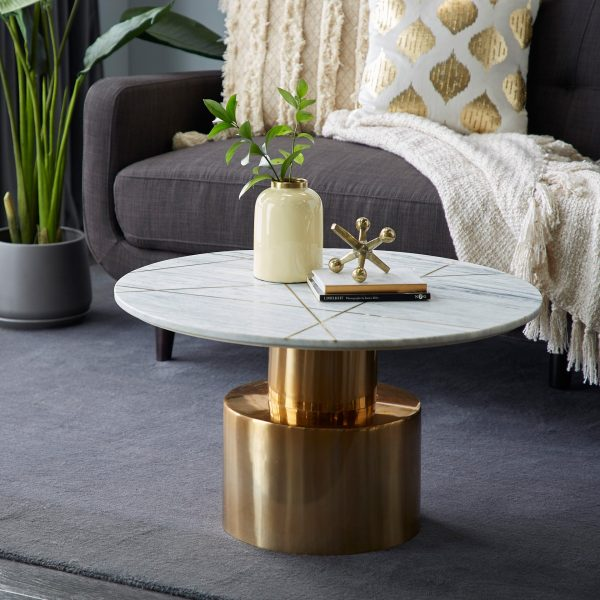 Aluminum Marble Coffee Table With Brass Inlay