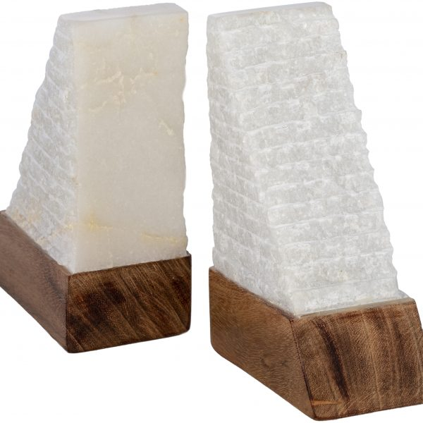Wood and Stone Pyramid Book Ends (set of 2)